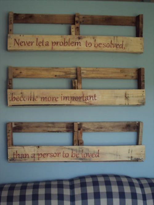 DIY Wooden Pallet Shelves with Storage | Pallet Furniture Ideas - use quotes from fave books
