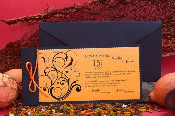 Invitación de boda naranja #invitaciones de boda #detalles de boda