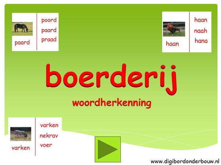 Digibordles over de boerderij. Leuk voor kleuters die willen leren lezen. http://digibordonderbouw.nl/index.php/themas/boerderij/boerderijdigibordlessen