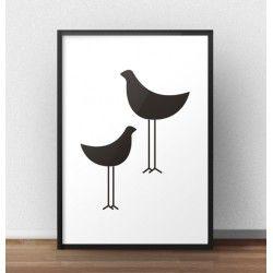 Minimalistyczny plakat z dwoma czarnymi ptakami