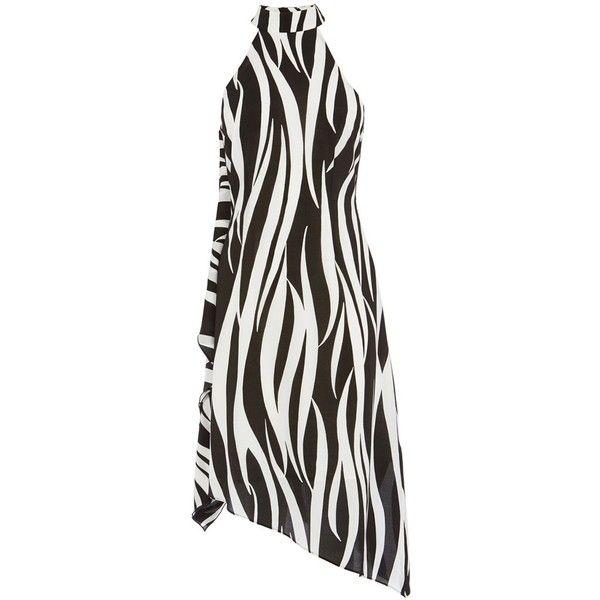 Karen Millen Zebra Print Oversize Dress, Zebra Print (€270) ❤ liked on Polyvore featuring dresses, sleeve maxi dress, white flare dress, white skater skirt, white circle skirt and zebra print dress