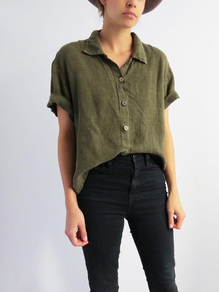Olive Linen Shirt // Vintage 90s minimalist blouse SOLD