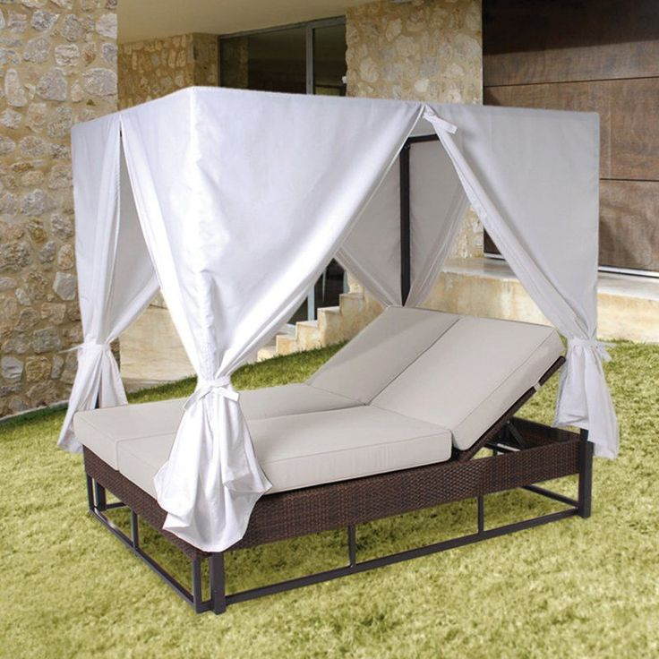 Outdoor Hospitality Rattan Soho Patio Daybed with Curtains - Rehau Fiber Java Brown - 903-9235-JBP