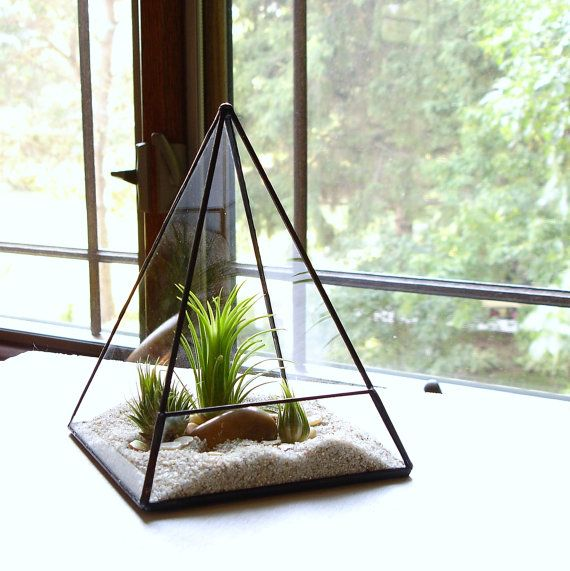 Terrarium en verre pyramide planteur avec par JechoryGlassDesigns