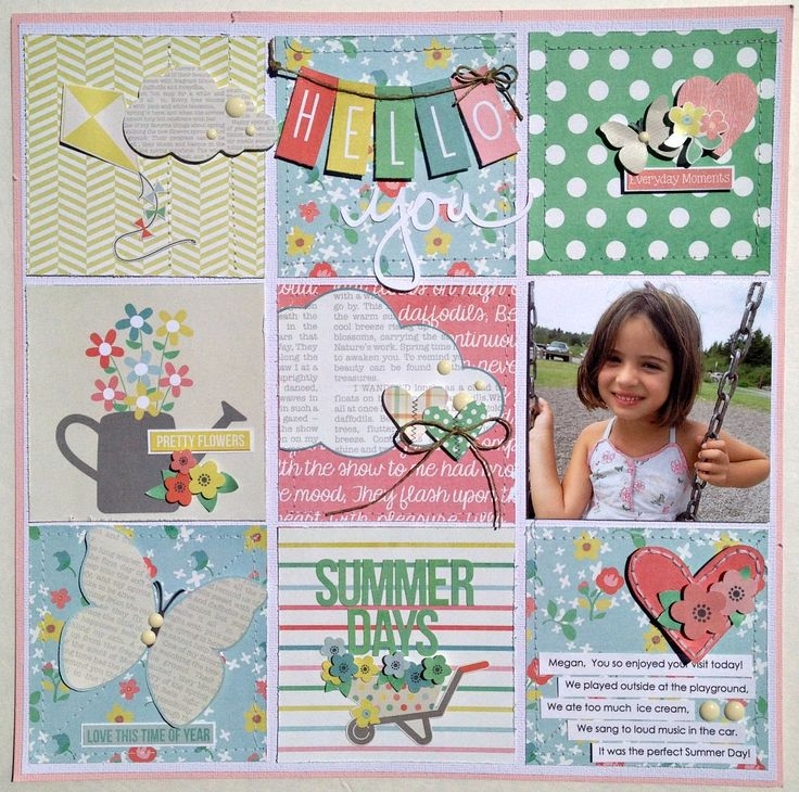 #papercraft #scrapbook #layout. Summer Days *Simple Stories* - Scrapbook.com - Use stitching around patterned paper squares to create a quilted effect.