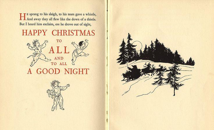 I versi finali di A Visit from St. Nicholas in un'edizione del 1931 impreziosita dai disegni di Arthur Rackham