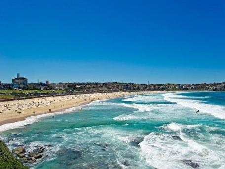 Look out over Bondi beach.