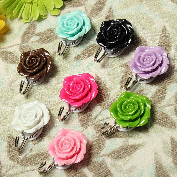 Self Adhesive Rose Wall Hook Towel Coat Door Hanger Sticky Holder