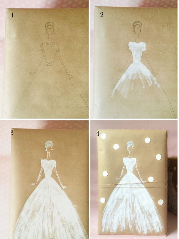 Make a pretty wedding gift with Kraft paper and white ink by kraft&mint diy tutorial