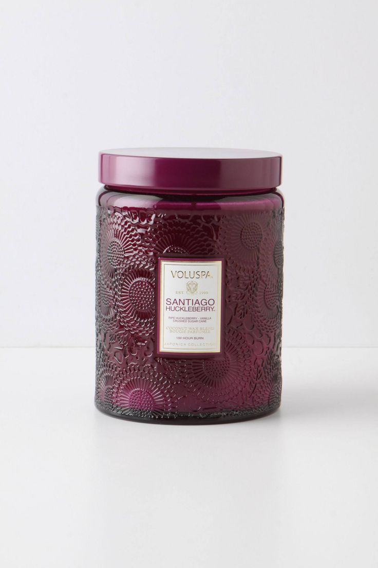 These candles smell great. like the red jar and the purple jar.  Voluspa Candle (Huckleberry) // Anthropologie // $26