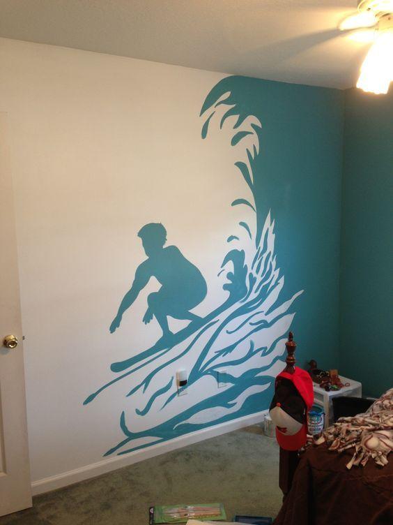 Surf mural for boy's room   For the house   Pinterest   Surf ...