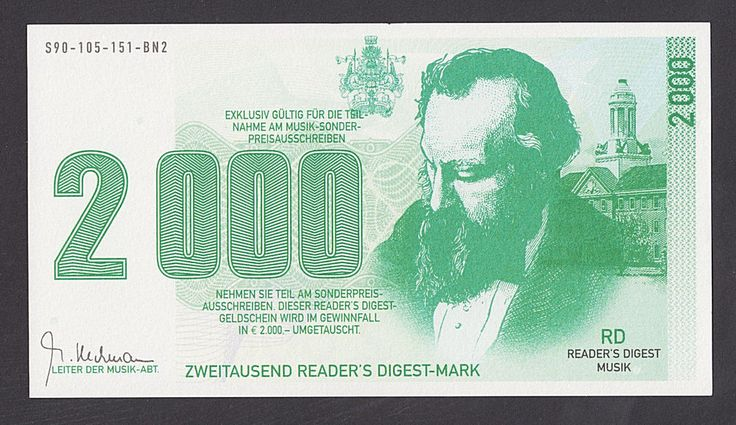 GERMANY  2000 Mark ND   UNC  READER'S DIGEST - PROPAGANDA NOTE