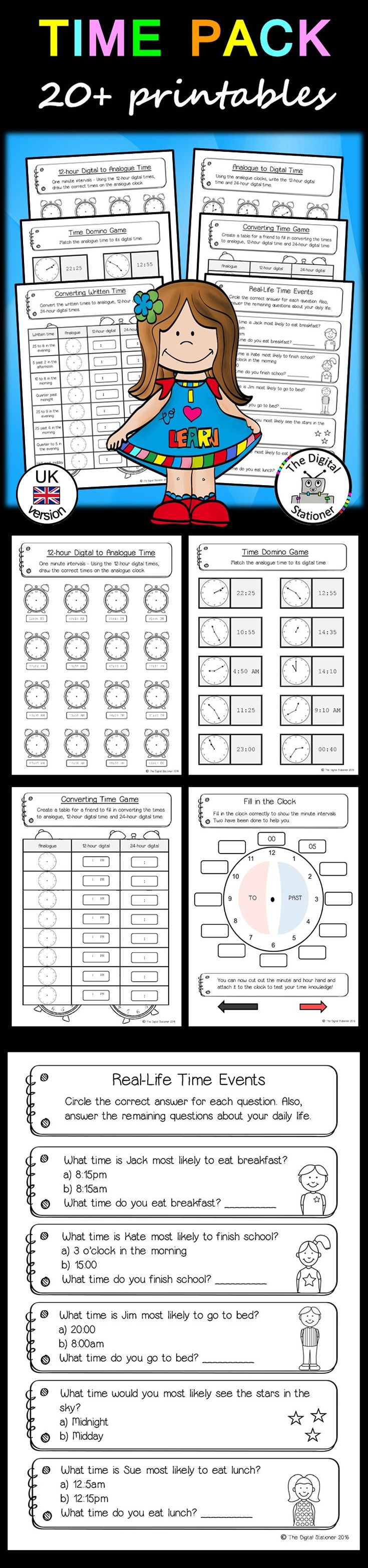 Uncategorized Primary Resources Maths Worksheets 249 best primary maths images on pinterest time pack telling the analogue digital uk version 20 printables resourcesworksheetstelling