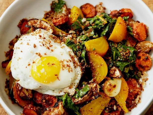 This simple recipe for roasted root vegetables and eggs is as versatile as it is healthful: Zoe Nathan eats it for breakfast, lunch and dinner.