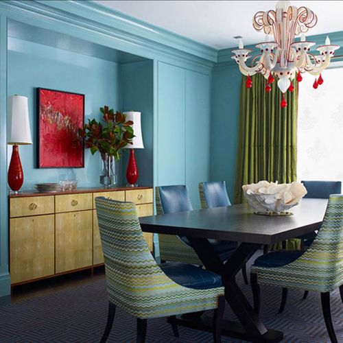 color on color #Art: Idea, Living Rooms, Red Glasses, Color Combos, Color Schemes, Chairs, Blue Wall, Katy Ridder, Dining Rooms Color