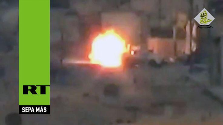 Un vehículo del Ejército sirio logra evitar un misil antitanque