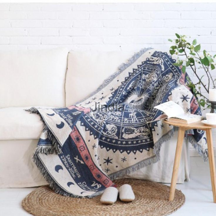 Jacquard Textiles, Sofa Throw Cover Cotton Armchair Bed Blanket - Star Sign