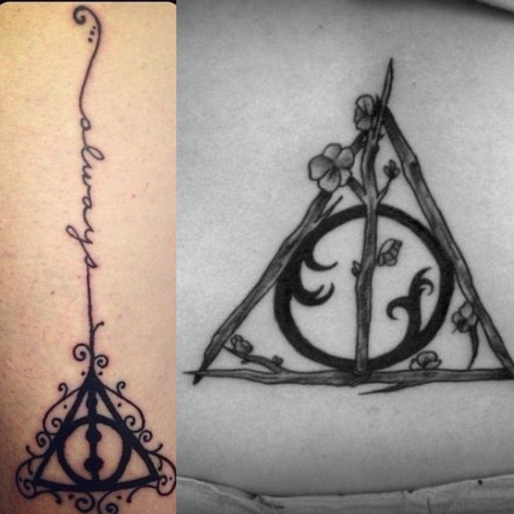 My first tattoo .. ✨ the tree branch deathly Hallows symbol on the right will be sorta small but big enough to see details and go on the inside of my left leg near ankle, and the 'always' cursive writing on the left will be a vine coming from the tree elder wand symbol