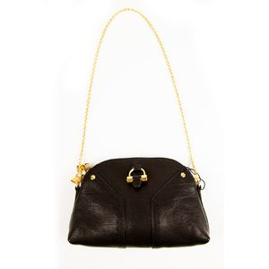 YSL YVES SAINT LAURENT Mini Muse Black Leather evening bag clutch gold chain