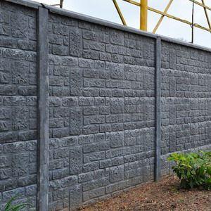 Beton schutting steenmotief enkel, grijs.Incl. gladgestreken betonpaal met sleuf 248cm, betonplaat 199x38,5cm. Afdeklat/afwerklat is een optie