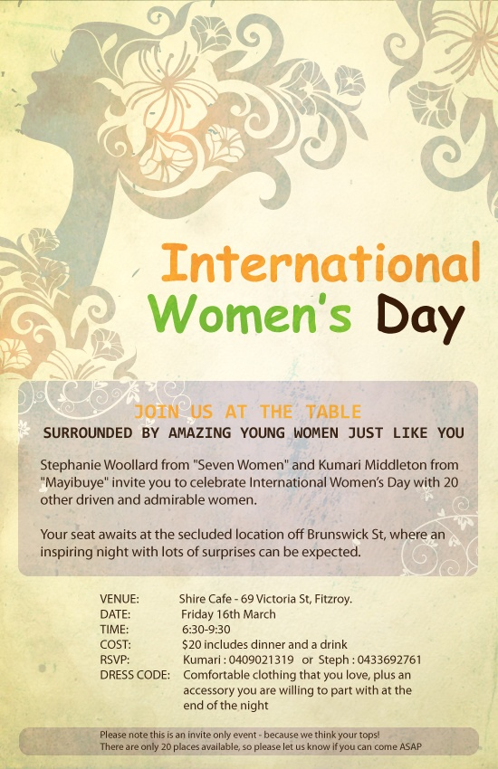 An event we are holding this week for a belated International Women's Day