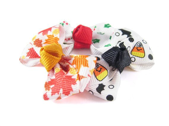 Baby Hair Bows in Fall/Winter Prints - Fall Sweet Petite Trio - Baby Hair Clips - Toddler Hair Clips - Christmas Hair Bow on Etsy, $4.99