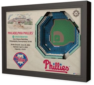 $199.99 - MLB Philadelphia Phillies Stadium Views Wall Art - Complement your sports room, man cave, or office with the officially licensed MLB Stadium Views Wall Art. Ideal for any alumnus, this wall art features a flawless, laser-cut, 3D wooden reconstruction of the Citizens Bank Park.