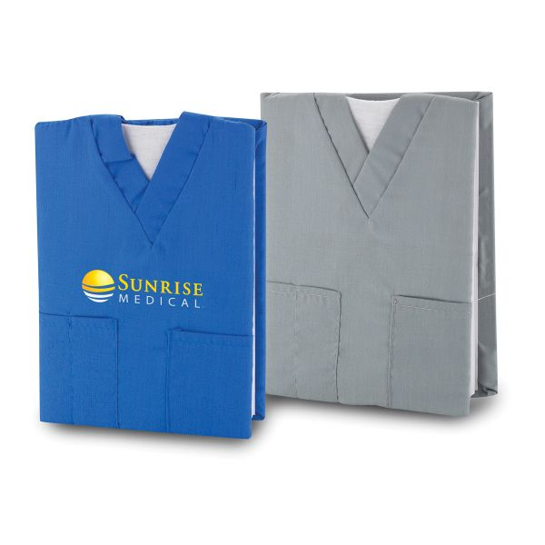 Take note of a unique promotional giveaway that'd be ideal to use during the next medical conference you attend? Then add your company name or logo to the Scrubs Notebook! Covered in the fabric and style of the classic med student uniform, the 70 page notebook comes with a 3 front pockets for easy access to personal items. A great gift for medical staff at hospitals, doctor's offices, nursing homes, medical schools and much more!