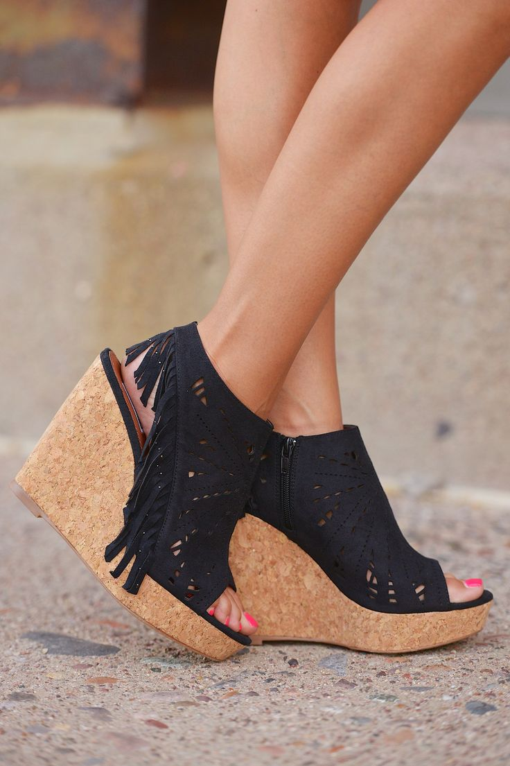 Fringe Delight Wedge Black From Closet Candy Boutique