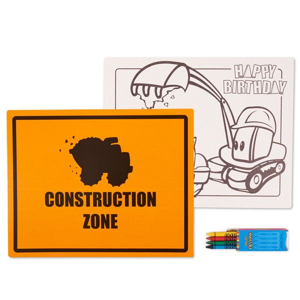Construction Pals Activity Placemat Kit for 4 Includes (4) paper placemats plus (4) boxes of crayons. Weight (lbs) 0.5 Length (inches) 11 Width (inches) 14 Height(inches) 0.25 Birthday Party Supplies Multi-colored One Size Birthday Unisex All Ages