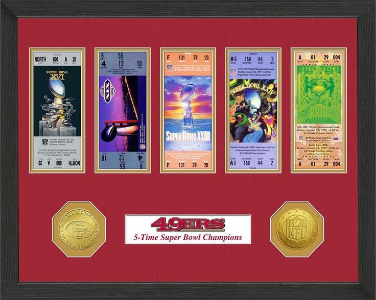 San Francisco 49ers Super Bowl Ticket Collection Plaque