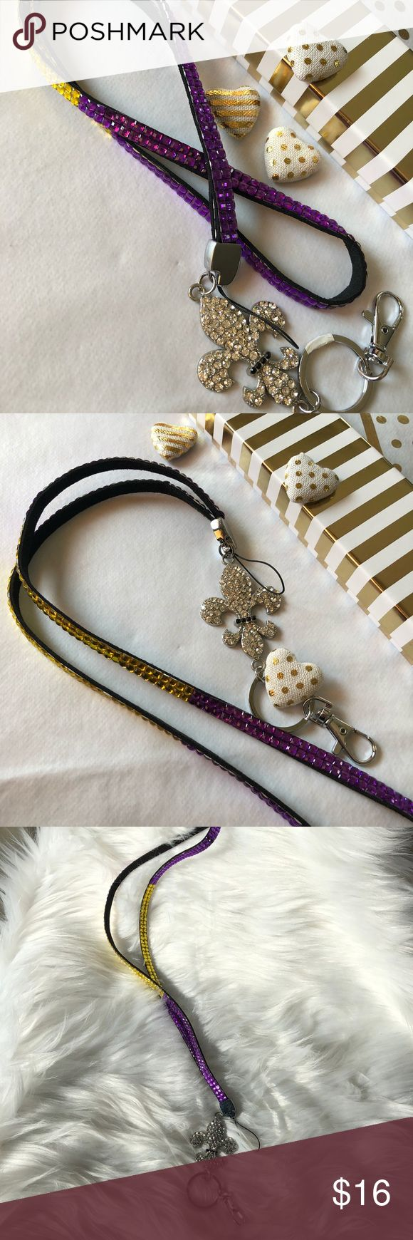 Lanyard New Orleans purple & yellow bling Lanyard New Orleans purple & yellow bling with silver sparkle bling NEW Accessories