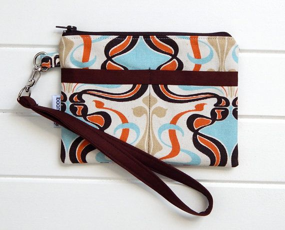 Fabric Wristlet, Fabric Pouch, Handmade Pouch, Zippered Wristlet, Zippered Pouch, Unique Fabric Pouch, Make-up Pouch, Handy Pouch