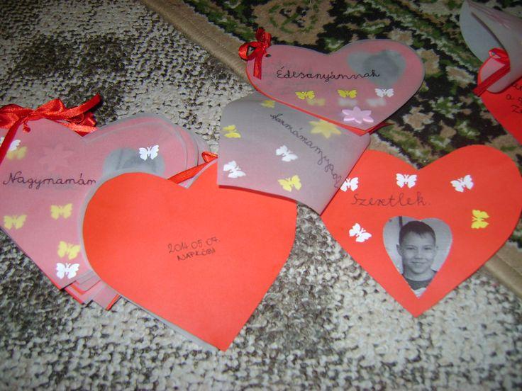 Anyák napjára készíthető,egyszerű és  dekoratív ajándék. Nálam a gyermekek írták rá az üzenetet, és ők díszítették.