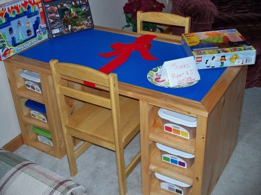 Lego Table:this is the base plans, but we're not going to do totes.  We'll cut holes in the top to do drop buckets like in my other pin. And then put drawers where they have the bins to put their transformers and other toys.