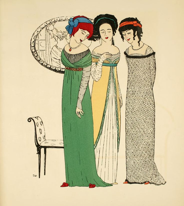Spectacular fashion design illustration from 1908 by Paul Iribe.