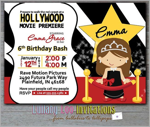 Movie Birthday Invitations Girl Movie Night Birthday by LullabyLoo, $18.00