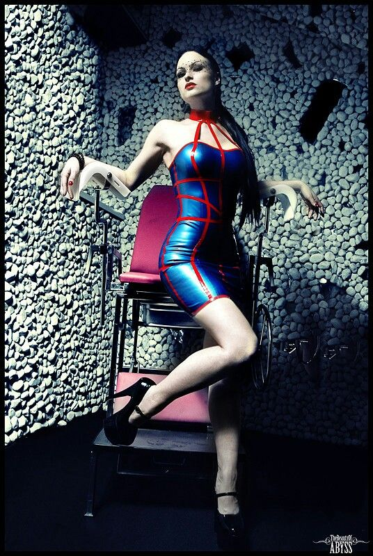 Sister sinister blue latex dress red