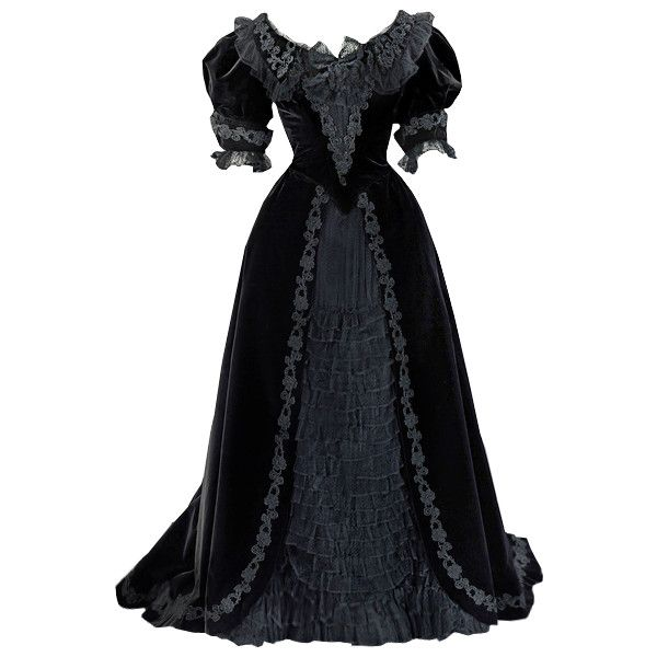 Gorgeous black historical gown  metmuseum.org - edited by Satinee by None, via Polyvore