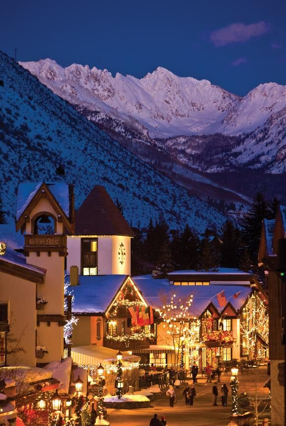 Vail, Colorado at twilight. If you haven't been, you must put it on your bucket list. Christmas season in Vail is pure magic.