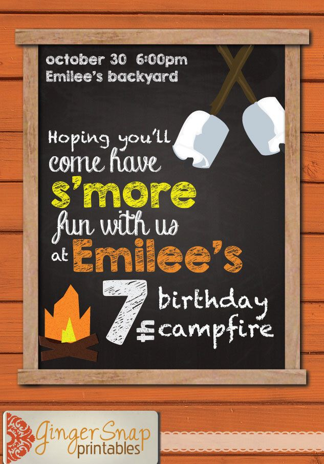Campfire Birthday Party Invitation Kids Camping Cookout Barbecue S'mores Bonfire Girl Scouts Boy Scouts Digital Printable Invite by GingerSnapPrintables on Etsy https://www.etsy.com/listing/204767972/campfire-birthday-party-invitation-kids