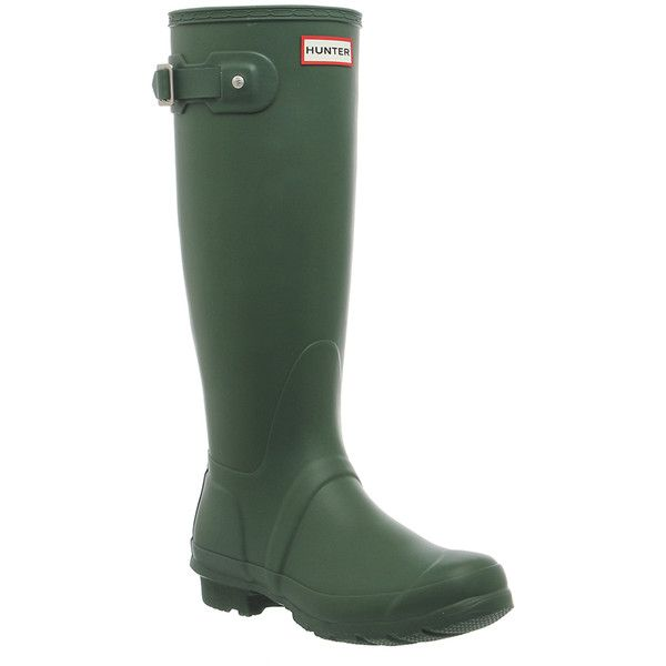 Hunter Original Welly ($88) ❤ liked on Polyvore featuring shoes, boots, rain boots, hunter green, knee boots, women, wellington boots, wellies boots, hunter footwear and wellies shoes