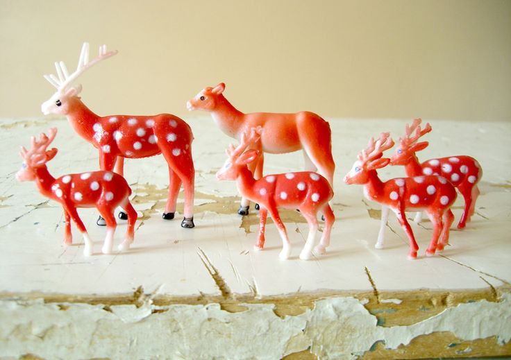 Plastic Deer, A Family of Six, Woodland Creatures- Perfect for Snow Globes and Diorama Art