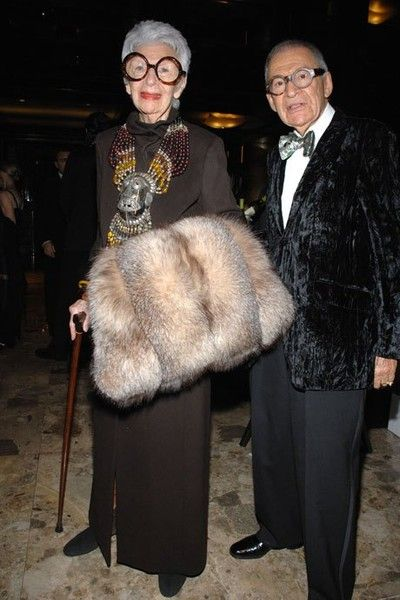 Fashion Icon Iris Apfel and her husband in NYC