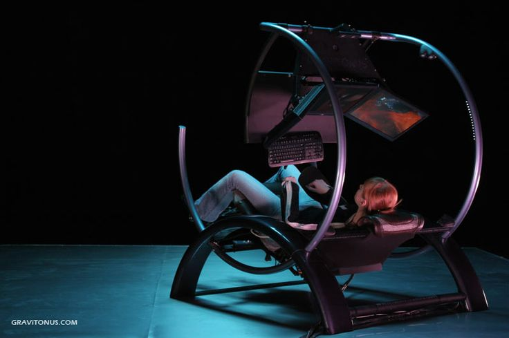 """""""Designed by a team of medical researchers studying spinal cord injury, the Gravitonus looks like one heck of a chair to have. It automatically analyses the position of the body, measures local temperature and pressure of different body parts and gently rotates the frame so that you have the least possible stress on your back."""" (home-designing, 2008)"""