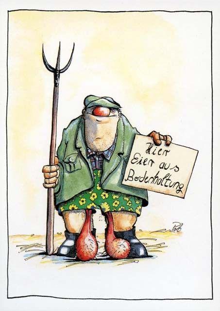 Postkarte Cartoon - Hier Eier aus Bodenhaltung postkarten cartoon
