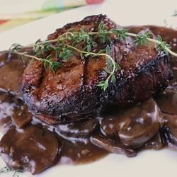 I used to visit the restaurant of a friend who was a chef. He made the best mushroom sauce for beef, but would not share his recipe. After trial and error, I think mine comes very close to his. This haute cuisine sauce makes everyday steaks or roasts into something a little more elegant.
