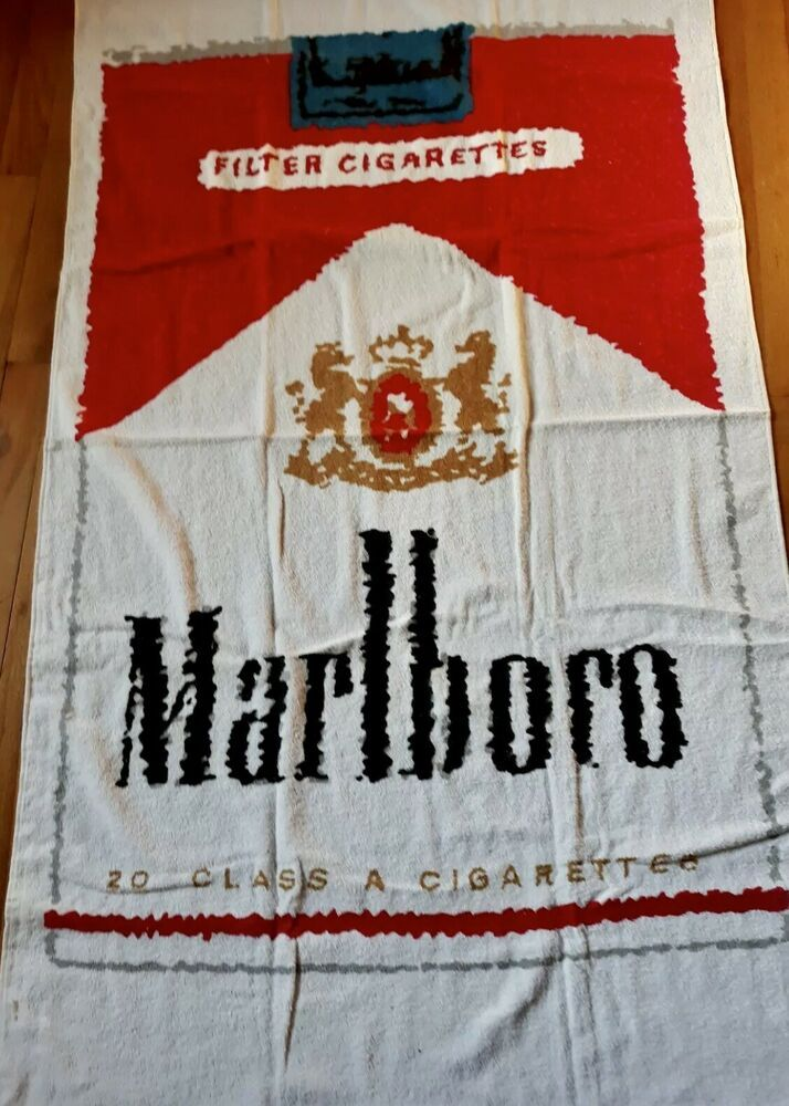 Vintage 1970 S Marlboro Pack Beach Towel Approx 33 X56 Terry
