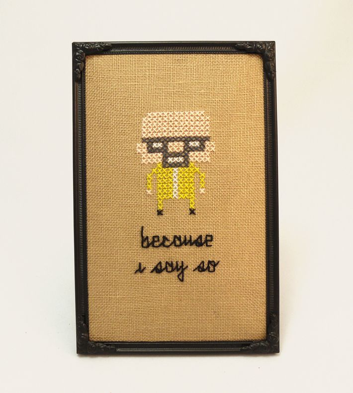 'Because I say so' - Geeky fan art gone retro ♥ This tiny pixelated hero in a frame is handmade by me.  It's 9.5 x 14.5 cm and ready to stand or hang. You can buy this piece from our webshop www.artrebels.com #artrebels #art #craft