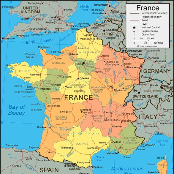 Map Of Western France.France Located In Western Europe Is Full Of Beautiful Cities